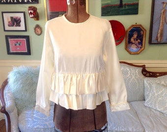 1960s Vintage Blouse Cream Two Tiers Satin Ruffles Adorable