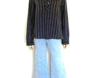 Vintage 70's 80's hippie stripy  earthy collarless grandad shirt blouse top M L