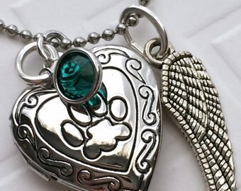 Pet Loss Paw Locket Necklace, Rainbow Bridge, Angel Wing and Swarovski Birthstone, Pet Loss Gift, Pet Memory, Pet Picture Locket,