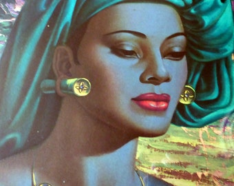 Fine Large Original 1960s Tretchikoff Print: Balinese Girl. In Original Wooden Frame & Glazed.