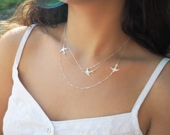 Sterling Silver Flying Birds Necklace, Three Layered Necklace, Available in Sterling Silver, Gold Filled and Rose Gold Filled