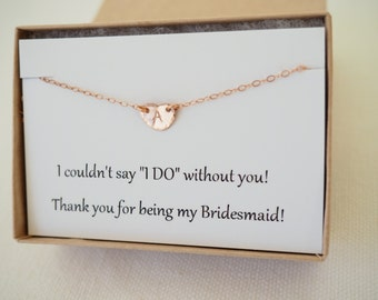 Set of...Rose Gold Initial Necklaces, Bridesmaids Necklace Set, Gift Set