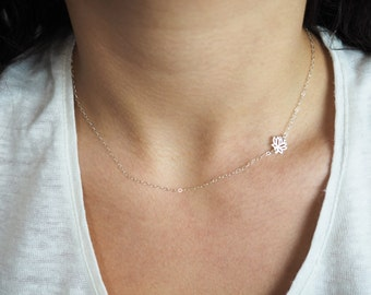 Offside Lotus Necklace, Sterling Silver Lotus Necklace, Sideways Lotus Necklace