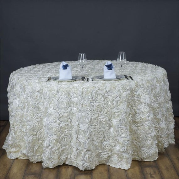 Ivory rosette table cover 120 or 132 round for 120 round table cover