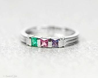 1 2 or 3 Stone Custom Family Birthstone Ring in Sterling Silver 10k or 14k White Gold