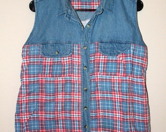 Plaid and denim button down vest/tank (90's grunge, vintage, biker, hipster)