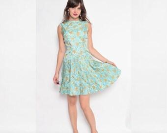 Vintage 70's Pleated Floral Dress / Accordion Pleated Sleeveless Dress - Size Medium