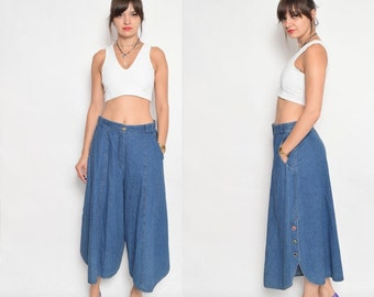 Vintage 80's Denim High Waisted Palazzo Pants /Wide Leg Jeans