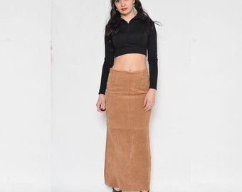 Vintage 90's Brown Suede Maxi Skirt / Suede Leather Maxi Skirt / Suede Pencil Skirt