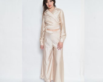 Vintage 60's Two Piece Wide Leg Pants Suit / Champagne Wrap Up To And Pants Set / Cropped Pants Matching Set