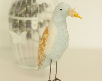 Blue and Yellow Textile Bird Soft Sculpture