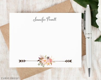 Personalized Notecard Set / Set of Flat Personalized Stationery / Custom Stationary Set / Tribal Watercolor Flowers // PAINTED FLORALS II