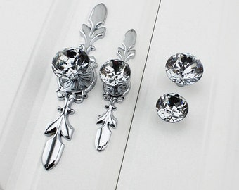 Drawer Pulls Crystal  Pulls Handle Glass Dresser Knob Pull  Silver Chrome Clear Crystal Decorative Pulls Drawer Pulls Cabinet knob