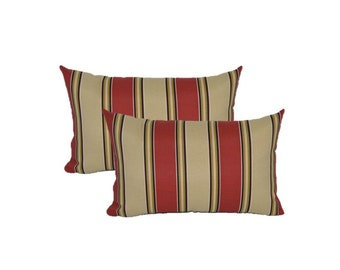 Set of 2 -  In / Outdoor Large Over-sized Rectangle / Lumbar Chaise Lounge Decorative Pillows - Red, Tan, Black, Green, Rust Stripe