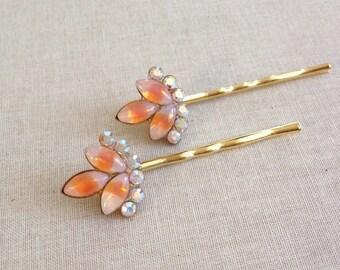 Peach rhinestone hair pins, Swarovski, pair, rhinestone hair pins, bridesmaid gift, wedding hair accessory, wedding hair pins, silver, gold