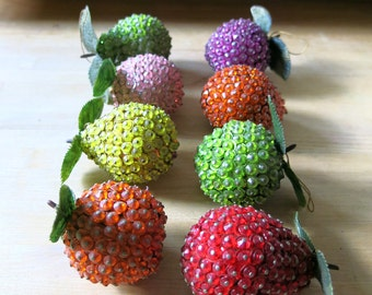 Vintage beaded fruit, sequins, hanging fruit, ornaments, christmas, pears, apples, colorful, pastel, red, purple, green