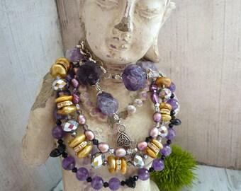 Guenine amethyste necklace, freshwater pearl necklace, guenine stone necklace, limited edition necklace, downton abbey style, boheme bijoux
