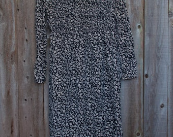 1990s Vintage Plus Size Black and Tan Long Floral Dress Tight Sleeves