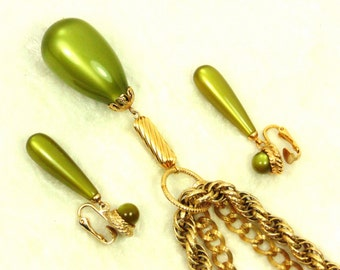 Vintage Sarah Coventry Golden Avacado Moonglow Pendant Necklace, Dangle Earrings / Clip SET