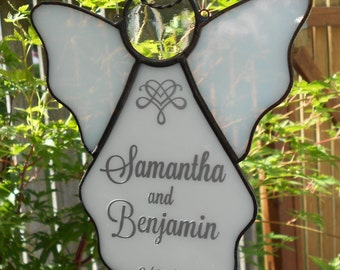 Personalized Stained Glass Angel Suncatcher, White  #422