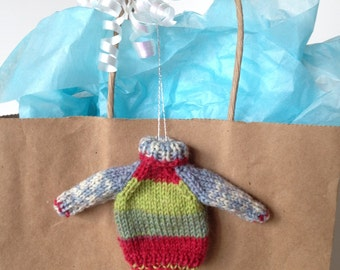 Mini Knitted Sweater Ornament, Tiny Turtleneck Sweater, Red Green Blue Mini Sweater, Hand Knit Miniature Turtleneck Sweater, Handmade Knits