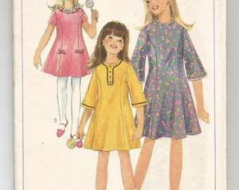 6854 Simplicity Sewing Pattern Girls Size 12 Princess Line Dress Vintage 1960s
