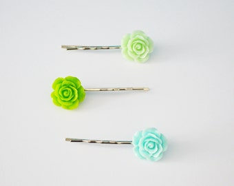 Set of 3 Assorted Color Rose Flower Resin Bobby Pin - Cute Hair Clip Set - Hair Accessories - Green Bobby Pins - Flower Hair Clip