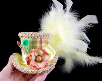 Cream, Green, Yellow and Orange Plaid with Velvet Flower Small Mini Top Hat Fascinator, Alice in Wonderland, Mad Hatter Tea Party, Derby Hat