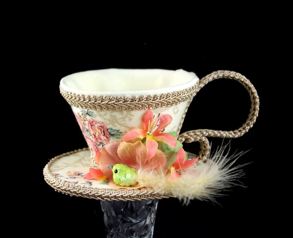 Cream, Coral, Green, and Toffee Floral with Flowers and Bird Tea Cup Fascinator Hat, Alice in Wonderland Mad Hatter Tea Party, Derby Hat