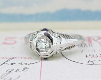 Art Deco Engagement Ring | Antique Diamond Ring | Diamond and Sapphire Wedding Ring | 14k White Gold Ring | 1920s Filigree Ring | Size 5