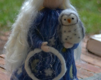 Grandmother Moon Waldorf inspired needle felted grandmother moon made to order