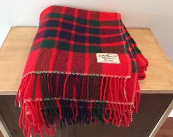 Vintage Red Green and Blue Hector Russell Kiltmaker Group 100% Wool Blanket