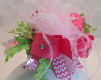 Spring pink and lime green hair bow with feathers