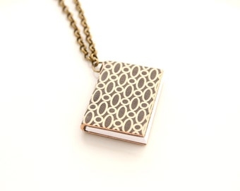 Mini book necklace little tiny book pocket gift