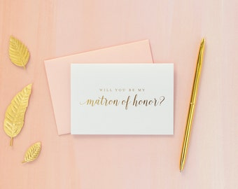 Gold Foil Will You Be My Matron of Honor card matron of honor proposal bridal party gift bridesmaid gift wedding party gold foil invitation