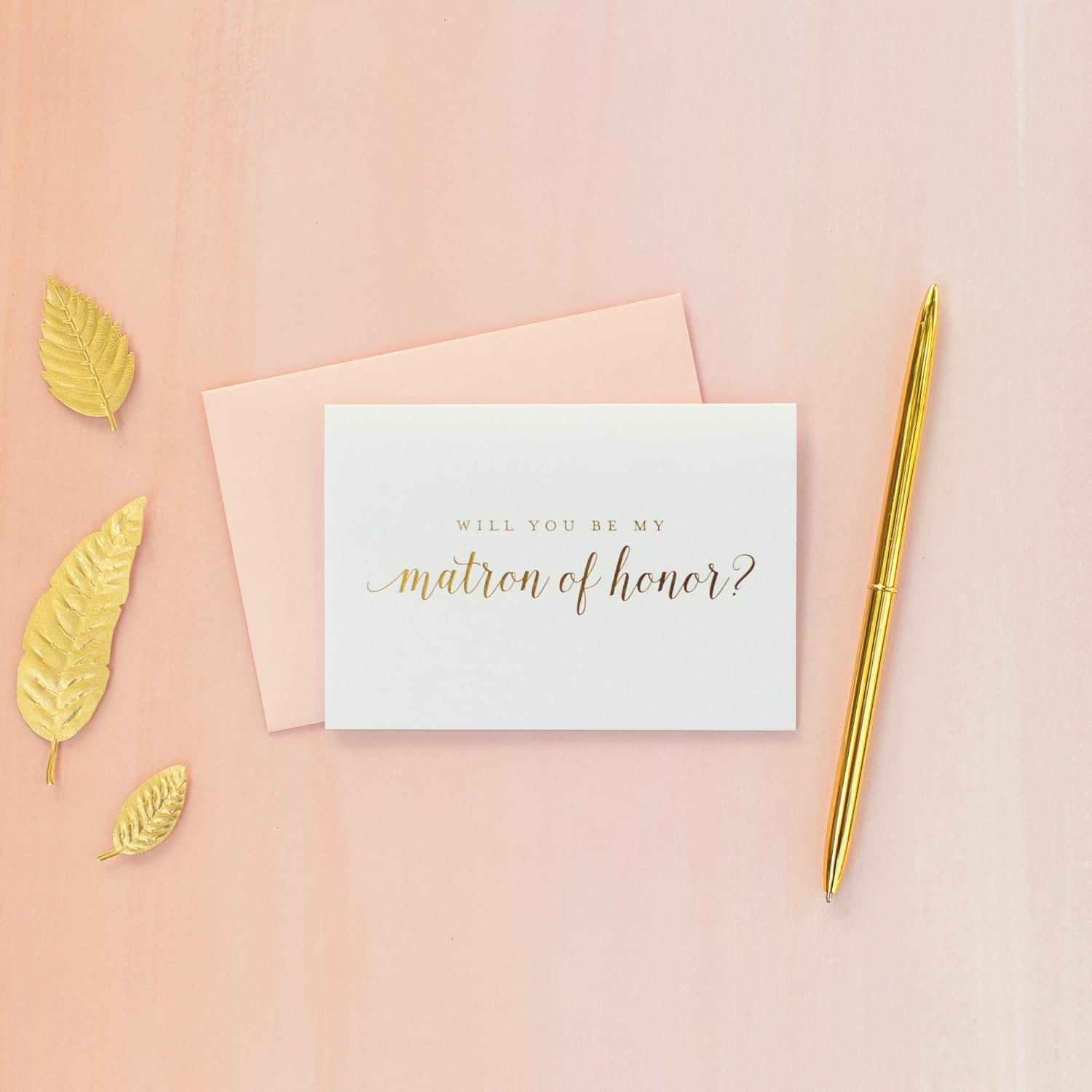 Gold Foil Will You Be My Matron Of Honor Card Matron Of Honor