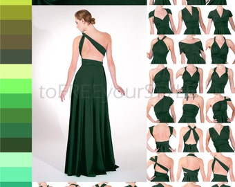Long infinity dress in GREENS, FULL Free-Style Dress, maxi convertible dress, plus size dress, infinity bridesmaid dress, mismatched dress