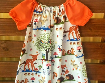 Girls Peasant Style Dress. Woodland Animals. Size 3