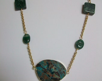 Green Ocean Agate and Green Serpentine on Gold Chain