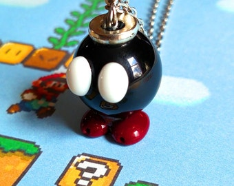 Super Mario-inspired Bob-omb necklace
