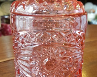 New England Glass Co. Pink pressed glass vanity/tea jar
