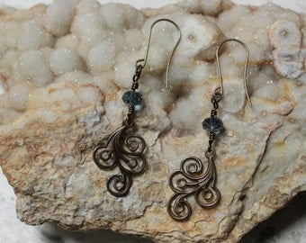 Natural Brass Vintaj Flourish Swirl Earrings with Swarovski Crystals in Denim Blue