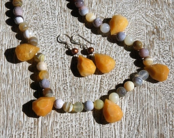 Butterscotch JADE, Agate Necklace & Jade, pearl earrings SET. S.S.  faceted/  natural/ organic/ yellow/ earthy/ casual/ everyday