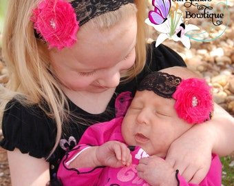 Hot Pink Black Shabby Flower Rhinestone Lace Headband, Single Flower, Flower Girl - Baby Toddler Girl - Vintage - SB-041a