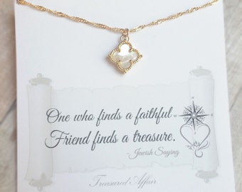 Best Friend Necklace, Friendship Jewelry, Gold, Mother of Pearl Clover Necklace, Personalized Necklace, Four Leaf Clover Necklace, Thank You