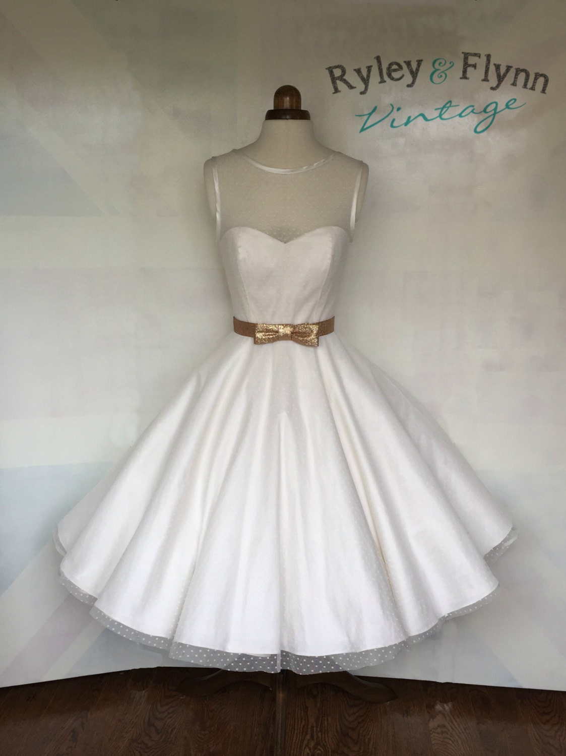 The dotty tea length wedding dress by ryleyandflynnvintage for Etsy tea length wedding dress