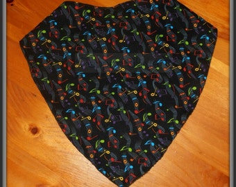 Adjustable Colorful Notes Bandanna Bib for Teens and Adults