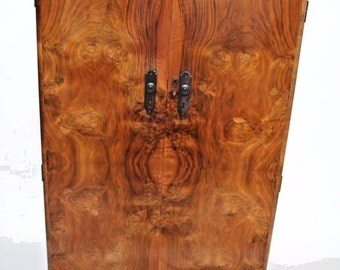 Vintage English Art Deco Mahogany 2 Door Armoire Wardrobe Gentlemans Closet Nation Wide Shipping Available