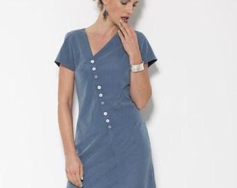 ON SALE!!!! Knee Length Dress, Blue and White Dress, Short Sleeve Dress, Summer Dress Women, Midi Dress,