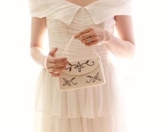 Vintage bridal clutch, Wedding purse, pearl beaded clutch, Bridal evening bag
